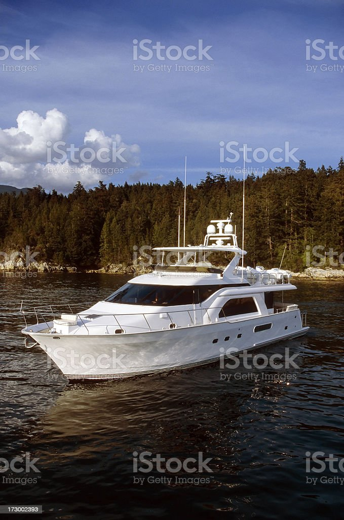 motor yacht shoreline royalty-free stock photo