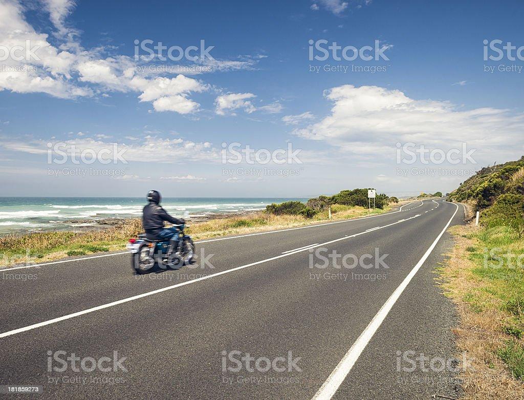 Motorbike Freedom on the Great Ocean Road in Australia stock photo