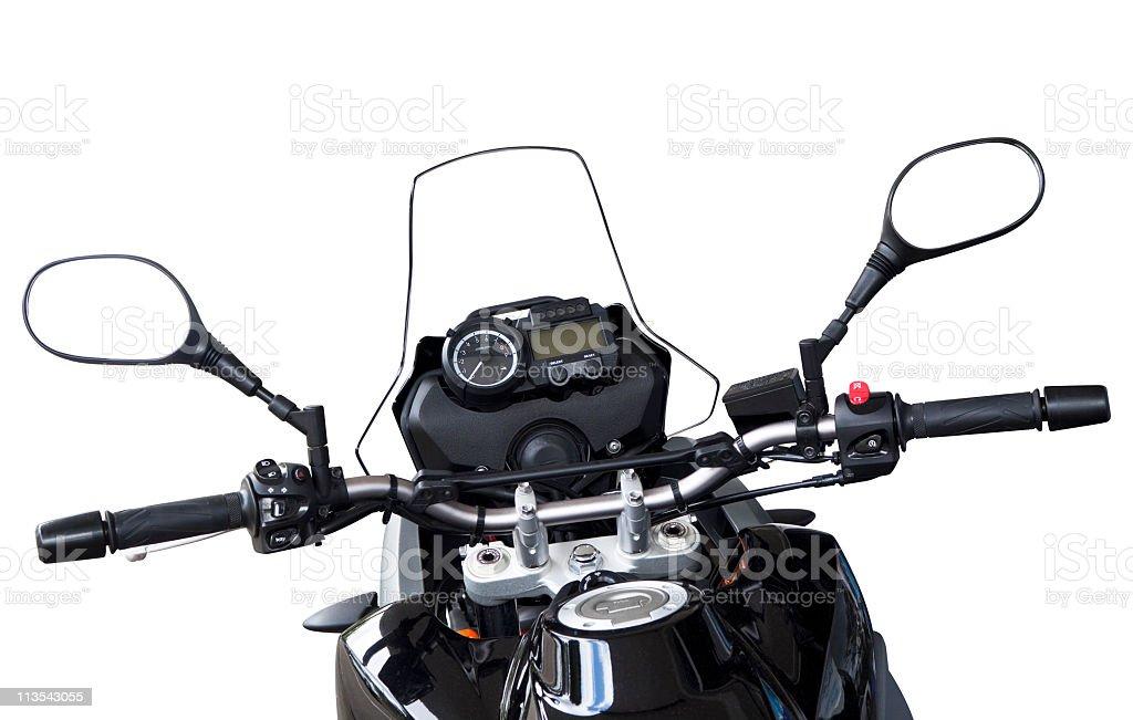 Motorbike handlebars and reversing mirros isolated on white stock photo