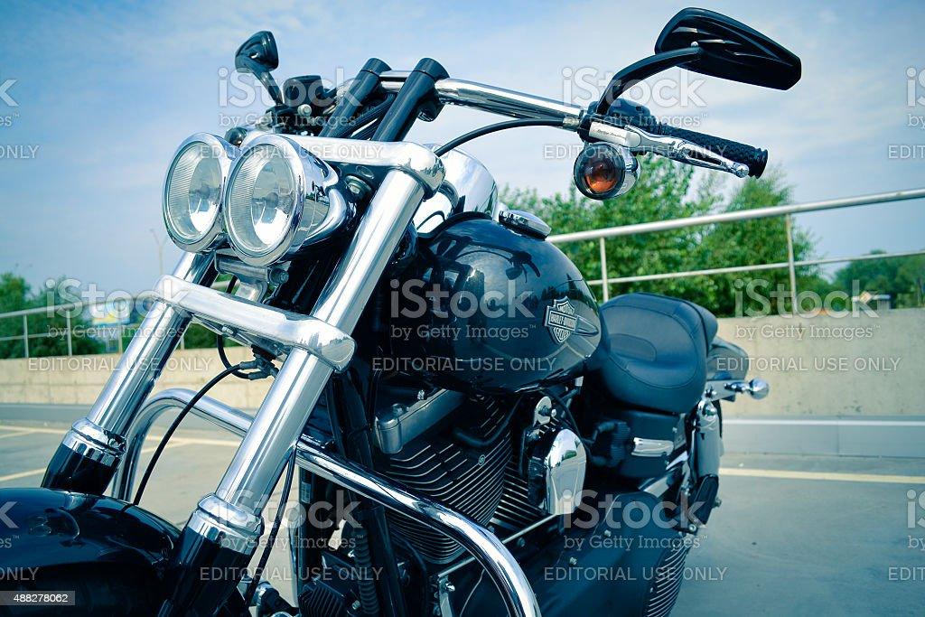 Motorbike Harley Davidson under blue sky stock photo