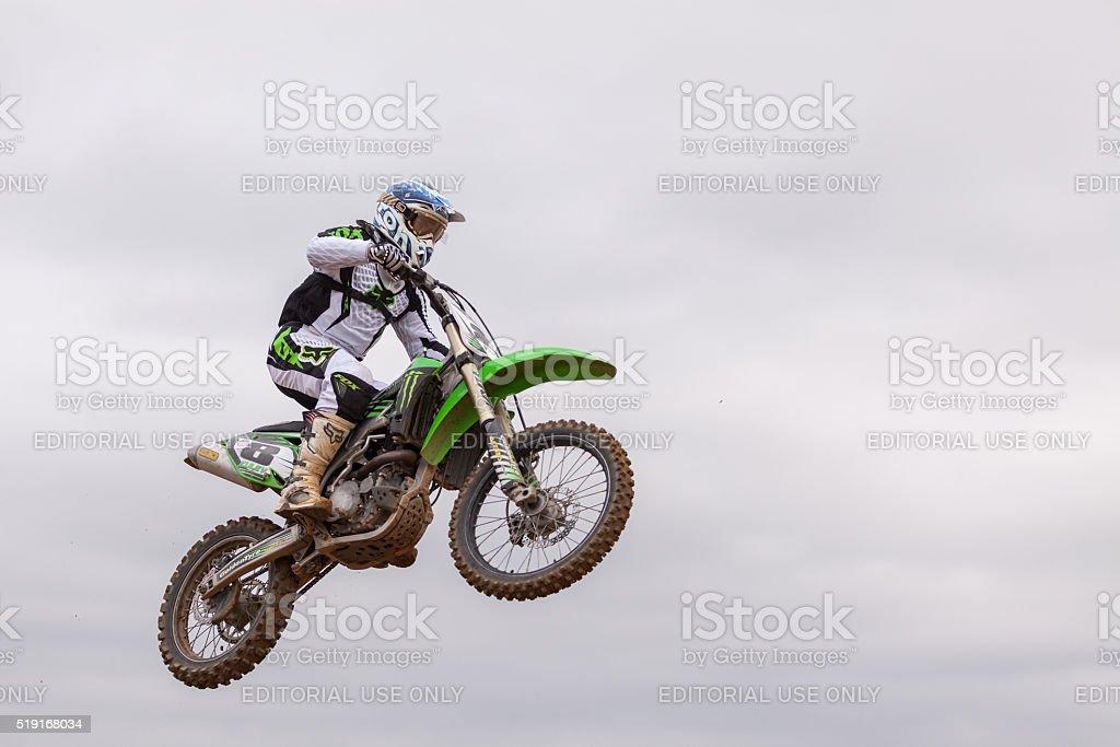 Motorbike in flight, bike jump at the 'MX GP POMORIE' stock photo
