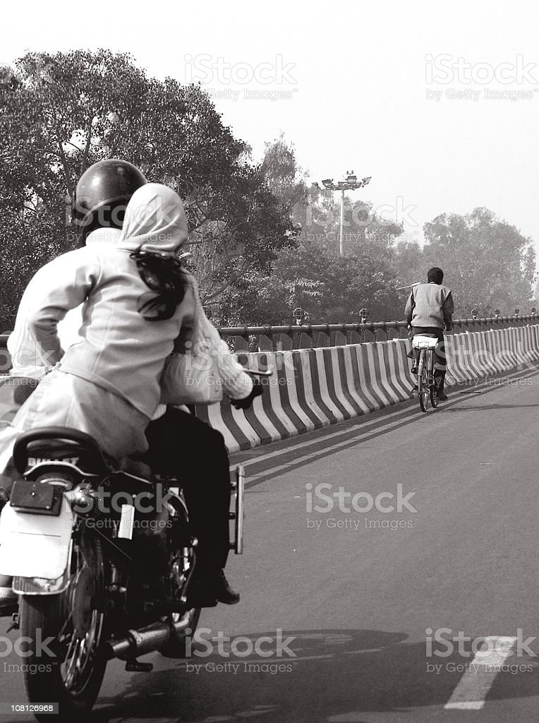 Motorbike in India, Black and White royalty-free stock photo