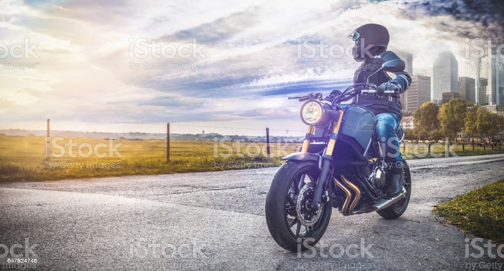 motorbike on the road in nature Landscape stock photo