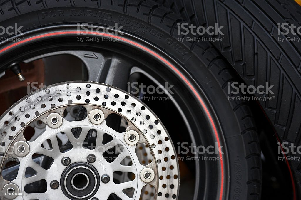 Motorbike racing tires stock photo