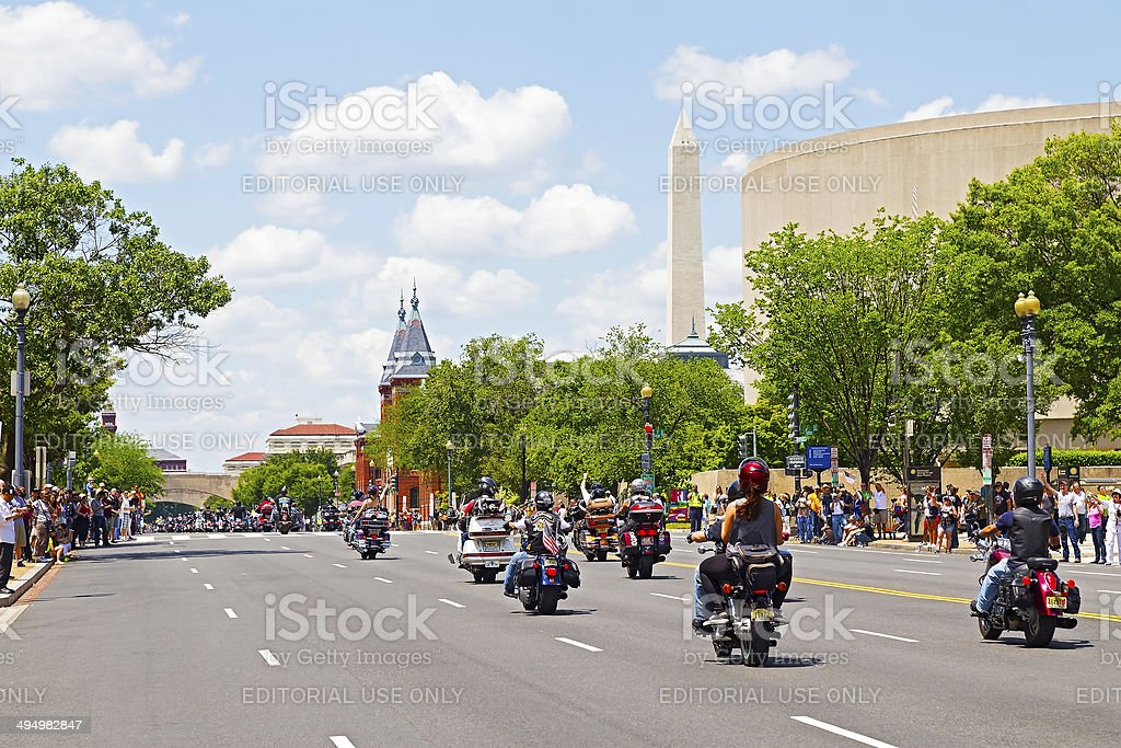 Motorbike ride in Washington DC honors military veterans stock photo