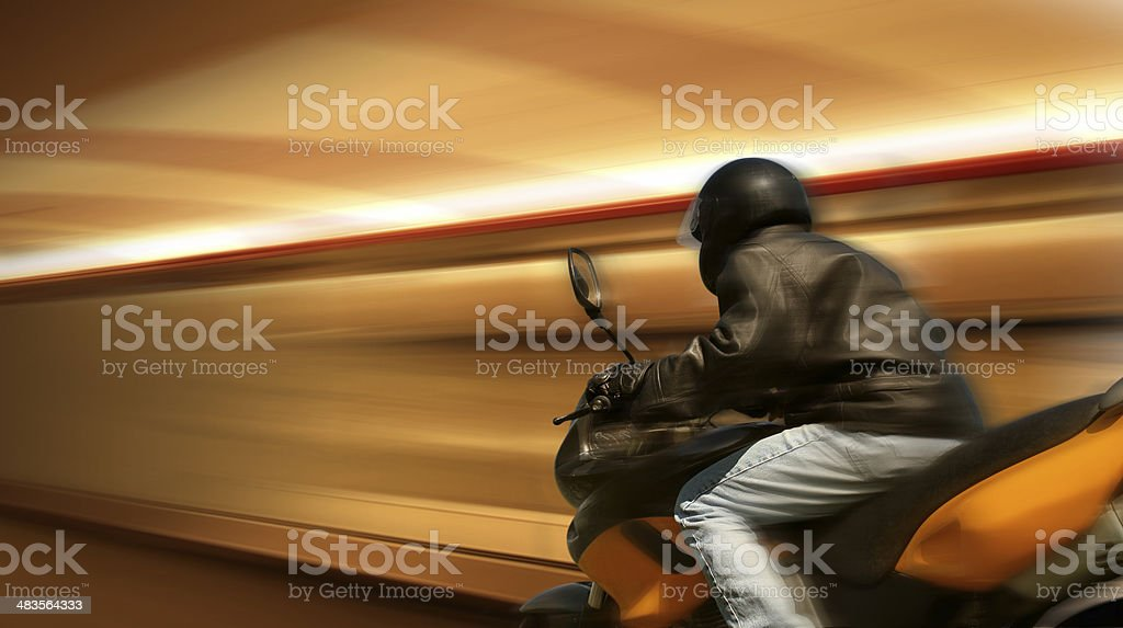 Motorbike Rider in Motion royalty-free stock photo