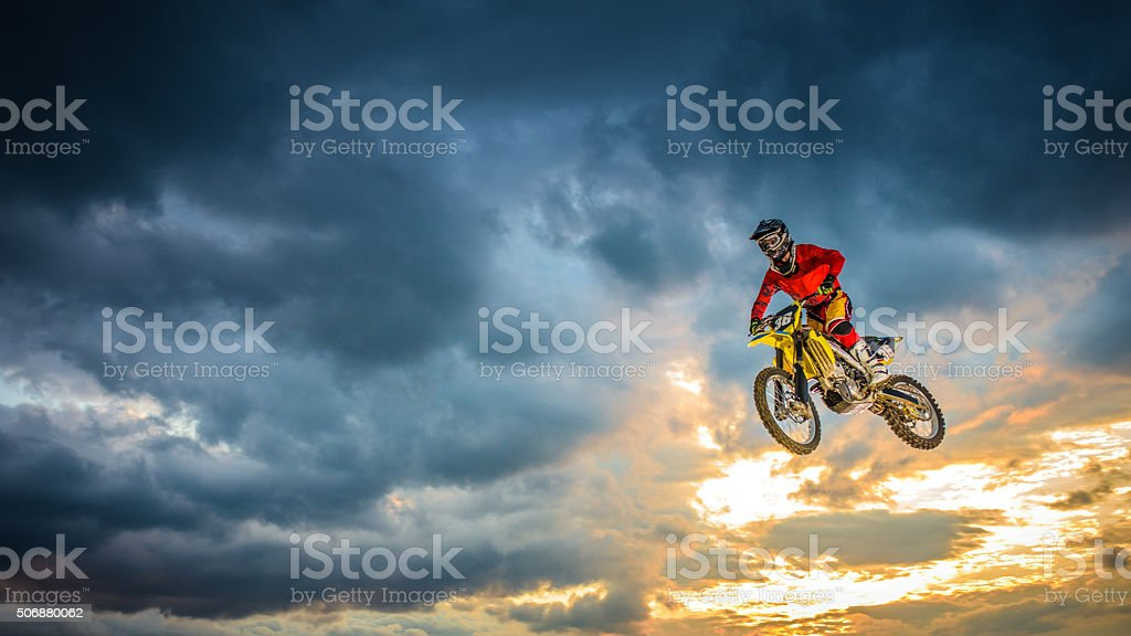 Motorbike riding stock photo