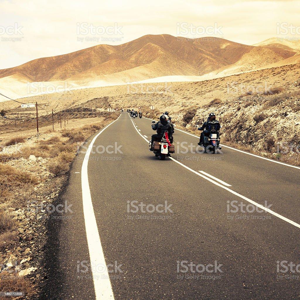 Motorbike Roadtrip in the Desert, Canary Islands royalty-free stock photo