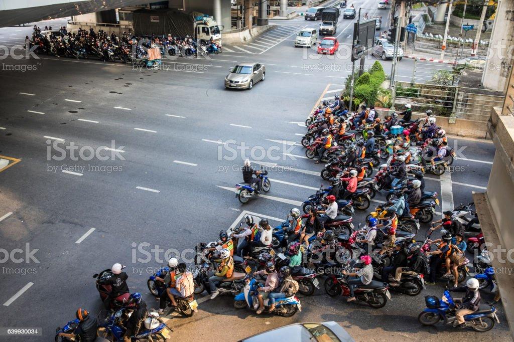 Motorbike traffic in Bangkok - Thailand stock photo