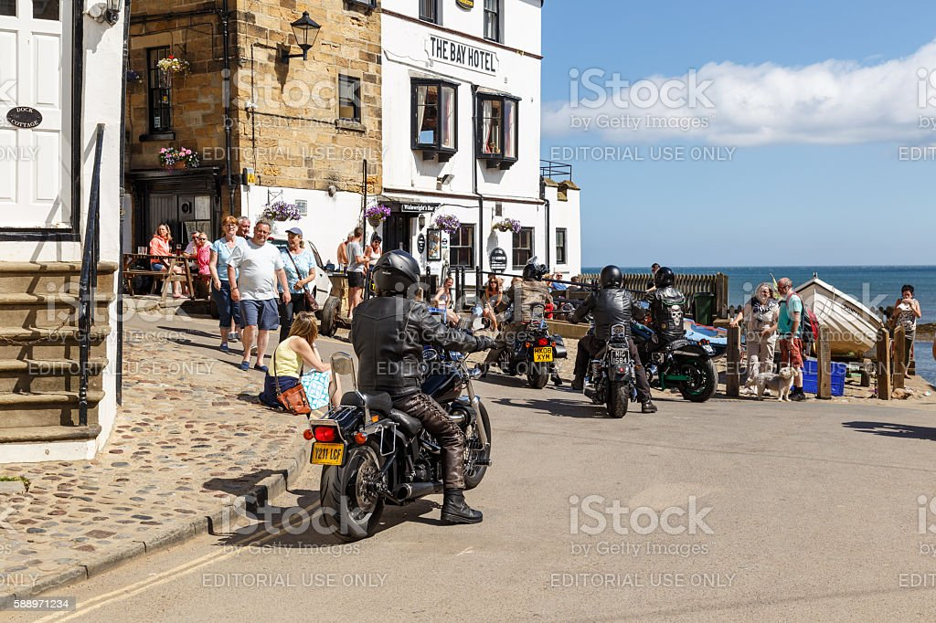 Motorbikers arrive outside The Bay Hotel stock photo