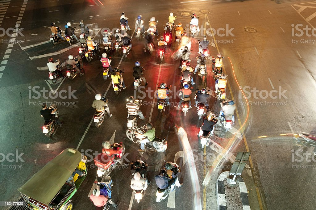 Motorbikes At A Busy Junction royalty-free stock photo