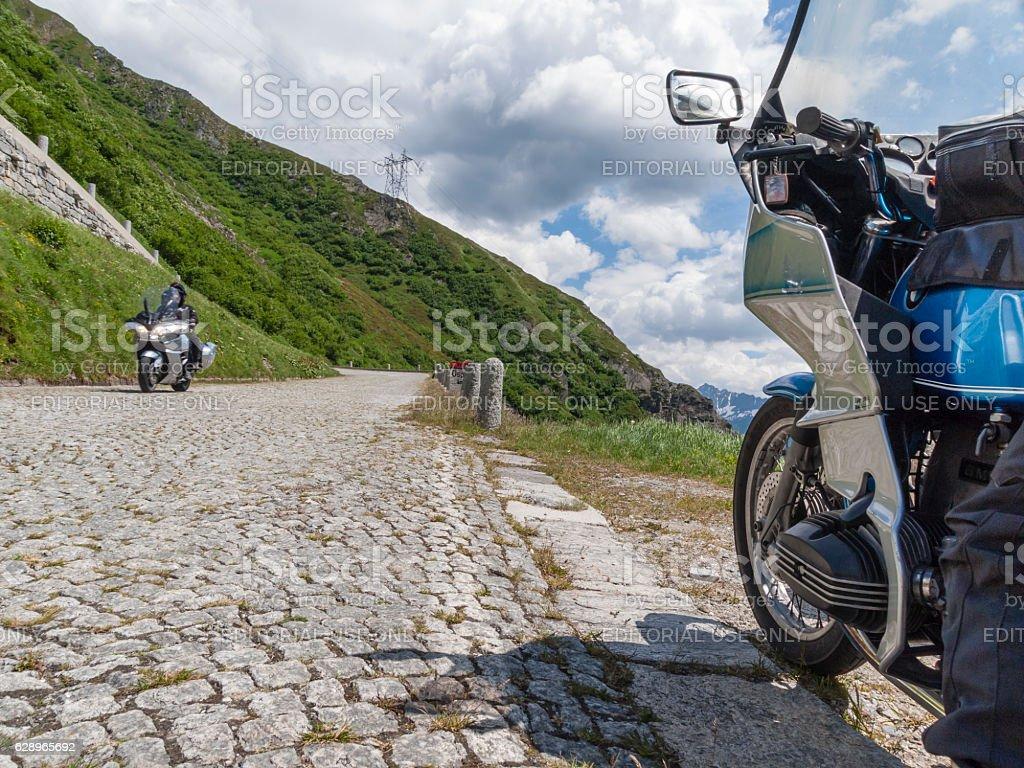 Motorbikes on Gotthard / San Gottardo mountain pass road stock photo