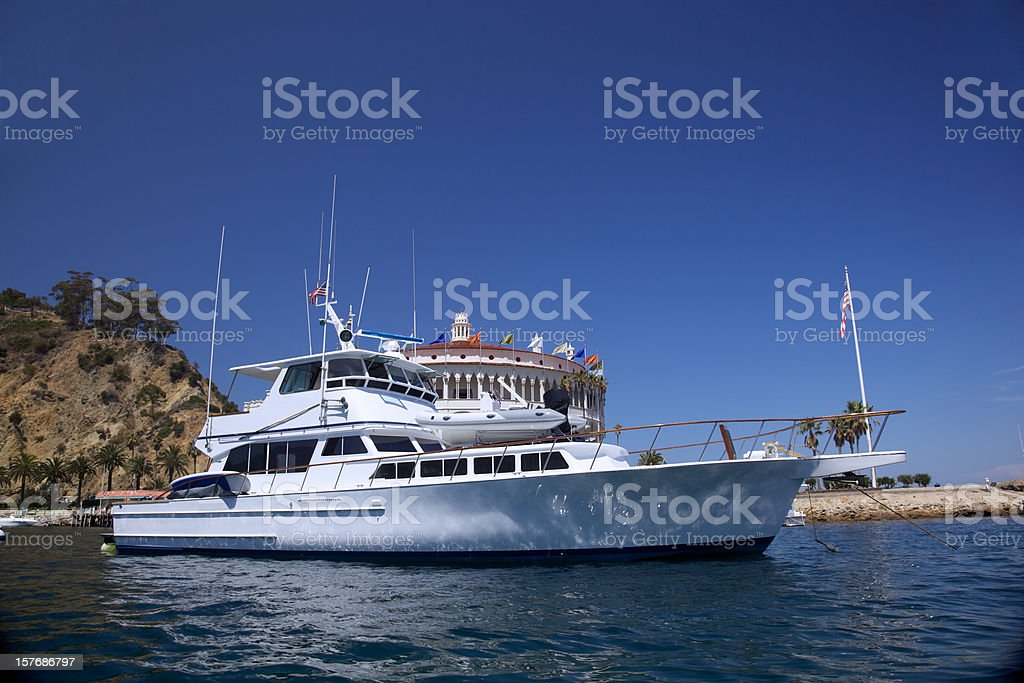 Motorboat at Avalon stock photo
