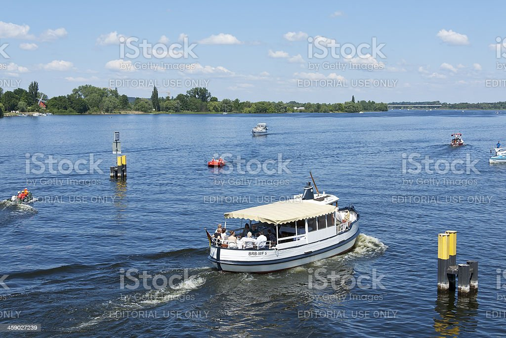 Motorboat (little yacht) at the River Havel stock photo