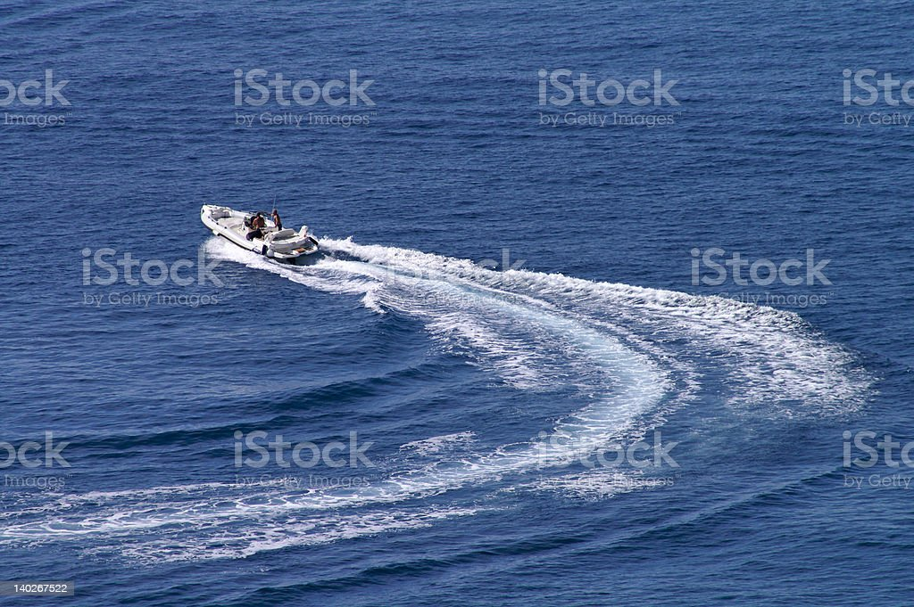 Motorboat - Change course royalty-free stock photo