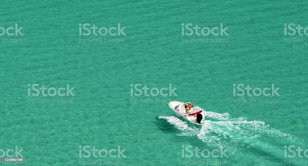 Motorboat Cruising. Speedboat. Sea. Green. royalty-free stock photo