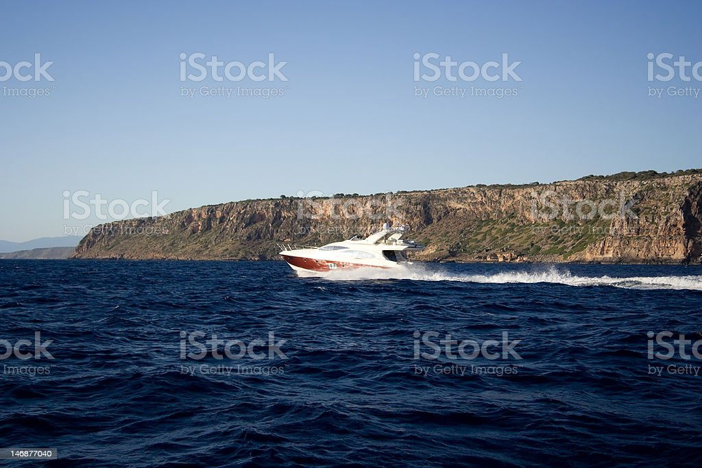 Motorboat drive on the sea. royalty-free stock photo