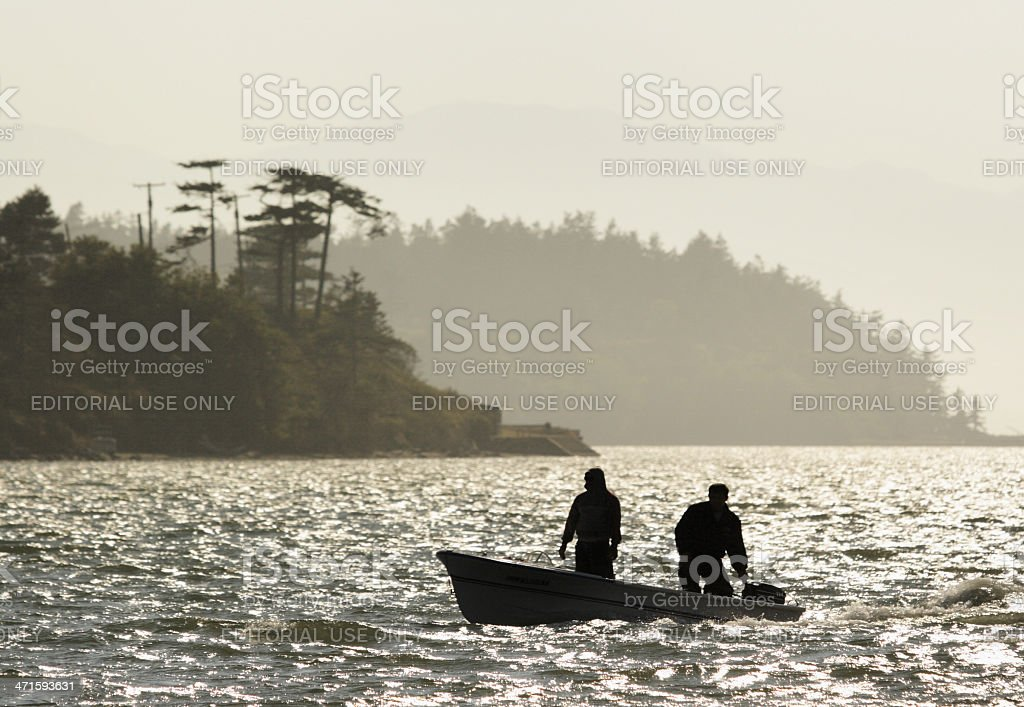 Motorboat Fisherman Fishing Sportsmen royalty-free stock photo