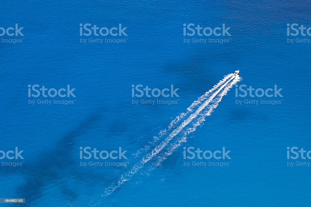 Motorboat Floats in the Sea stock photo