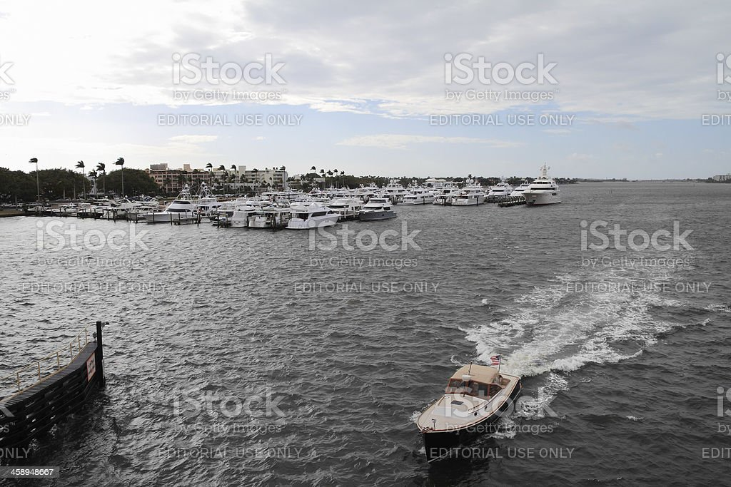 Motorboat in intracoastal waterway royalty-free stock photo