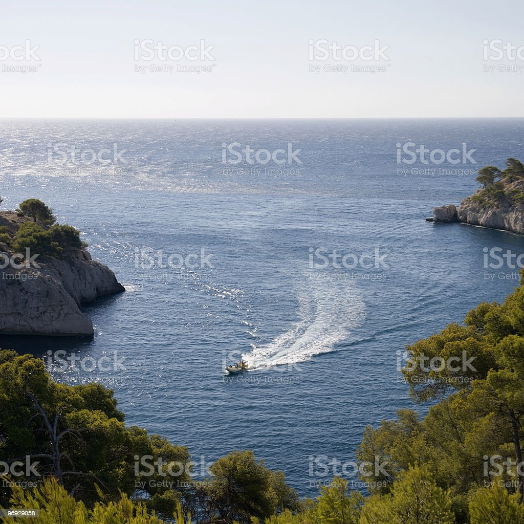 Motorboat in Les Calanques royalty-free stock photo