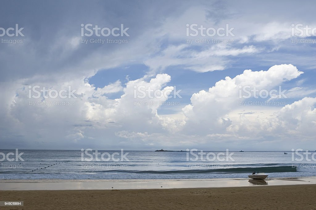 motorboat on beach royalty-free stock photo