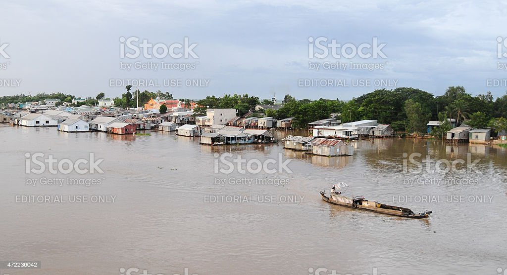 Motorboat on Mekong river in Southern Vietnam stock photo