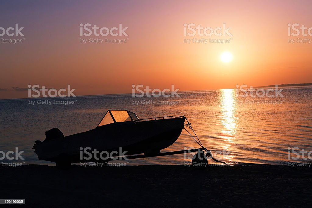 Motorboat on the beach royalty-free stock photo