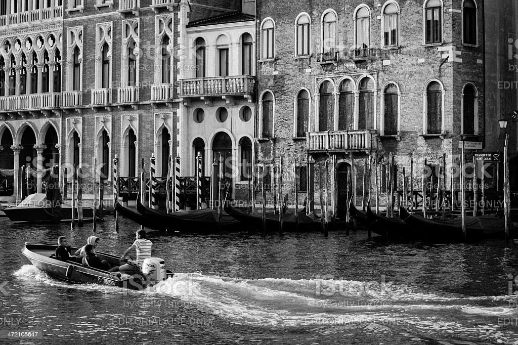 motorboat on the Grand Canal of Venice royalty-free stock photo