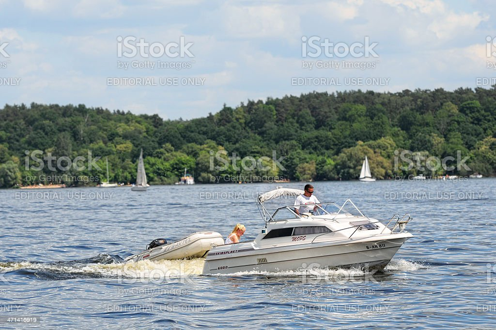 motorboat on Wannsee (Berlin - Germany) stock photo