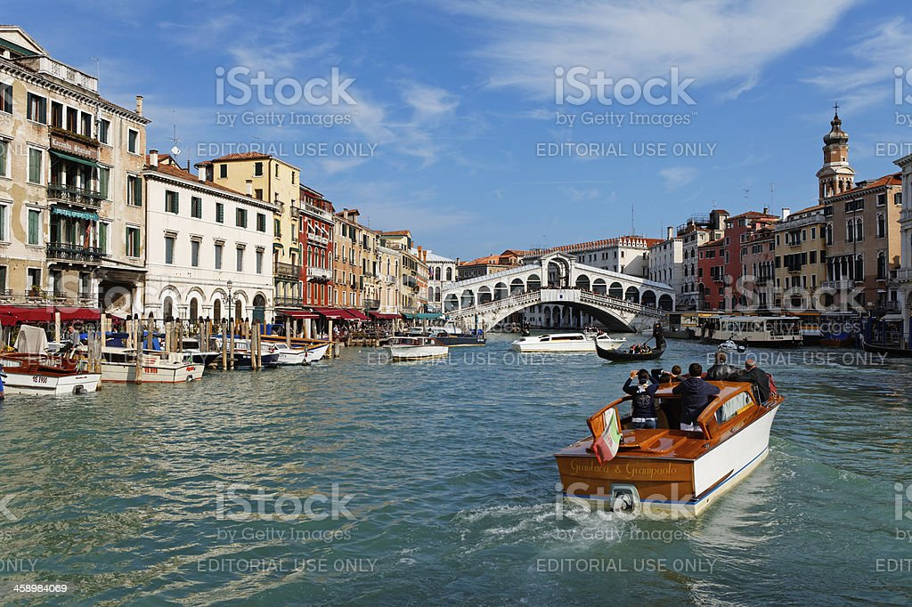 motorboat water taxi in Venice royalty-free stock photo