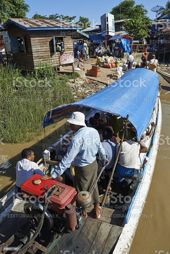 Motorboats arriving at Kyauktan royalty-free stock photo