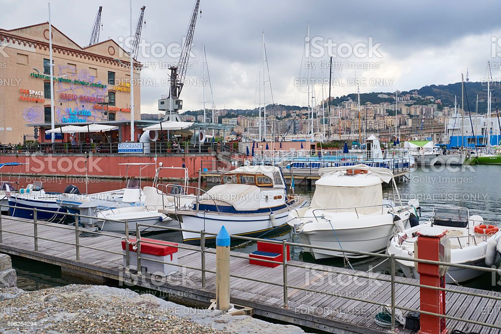 Motorboats at Genoa Old Port stock photo