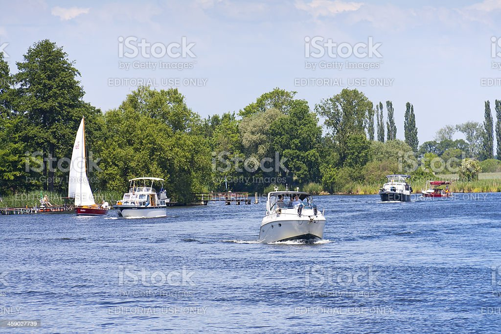 Motorboats (little yachts) at the River Havel stock photo