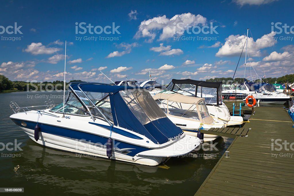 Motorboats in Marina, Mikolajki, Poland stock photo