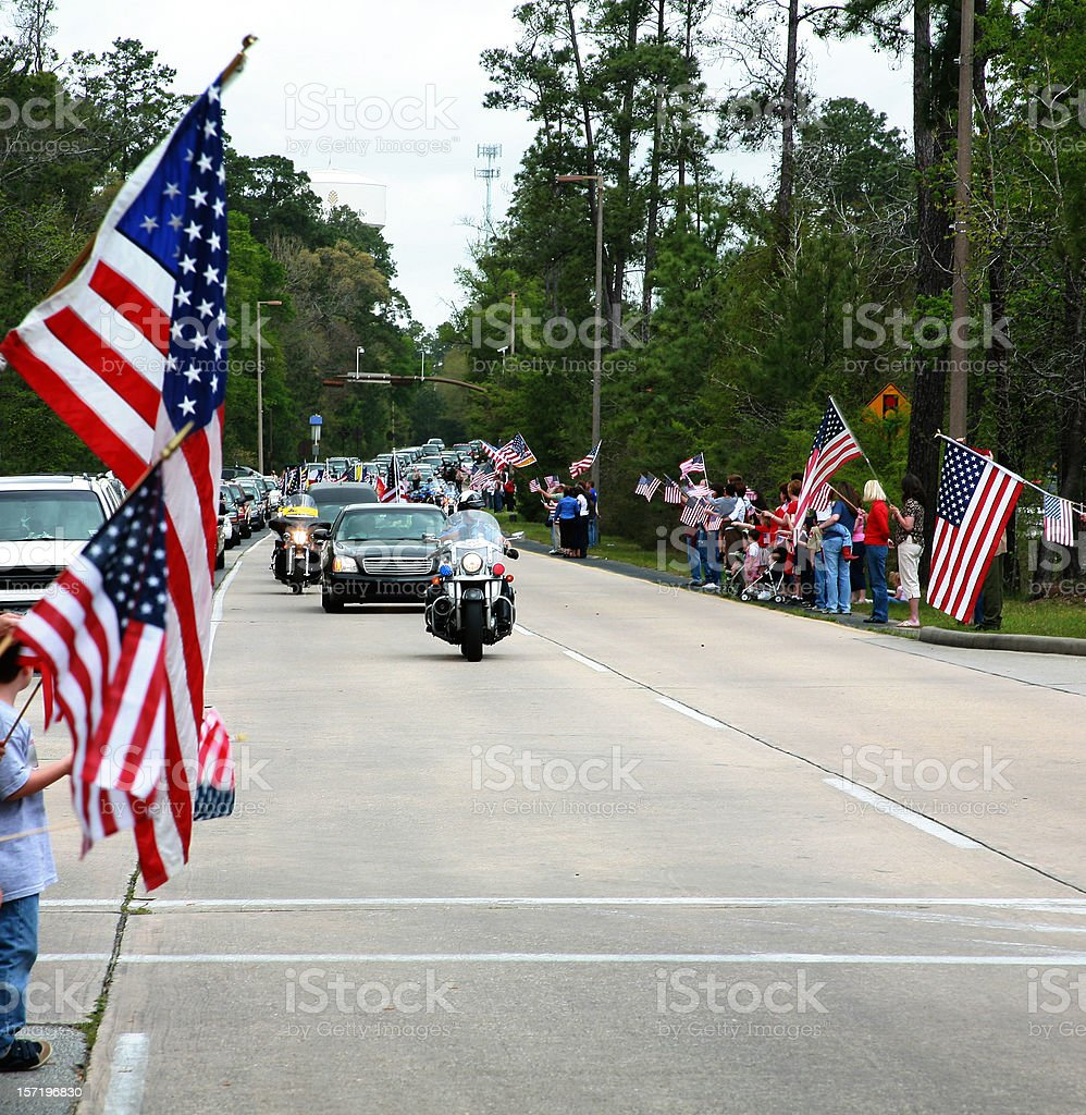 Motorcade with police officers and flags. Parade, funeral. USA. stock photo