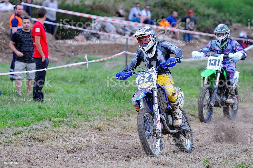 Motorcross in El Berron, Asturias, spain. stock photo
