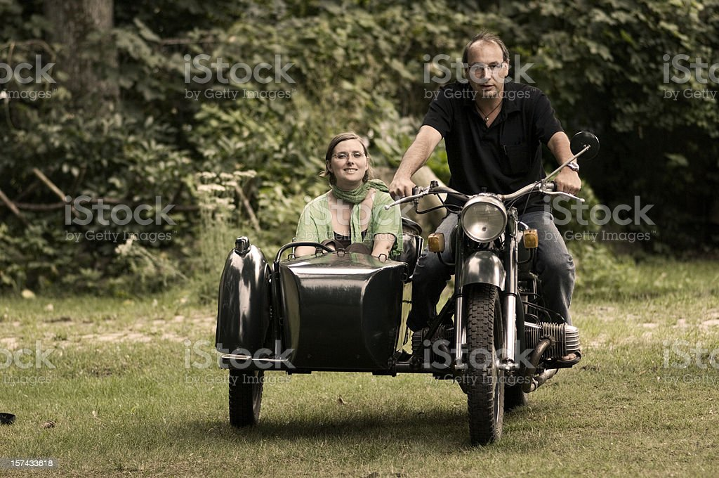 Motorcyccle with side car stock photo