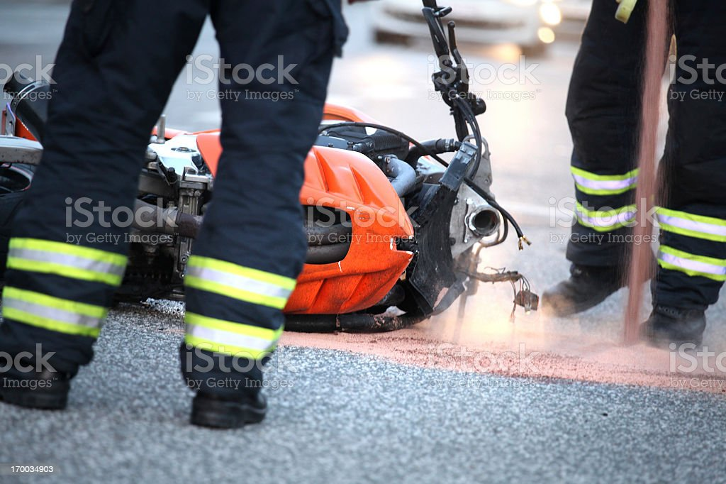 Motorcycle accident - Motorradunfall stock photo