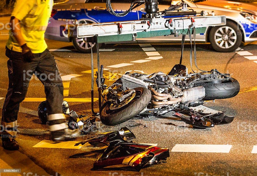 Motorcycle accident - Motorradunfall stock photo