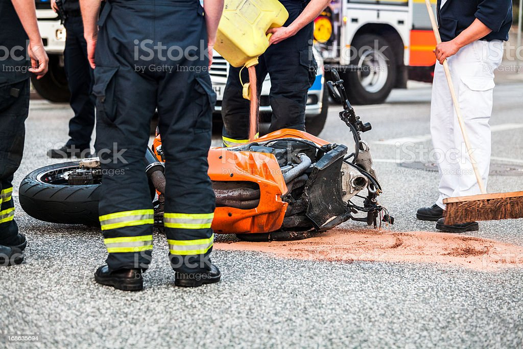 motorcycle accident stock photo