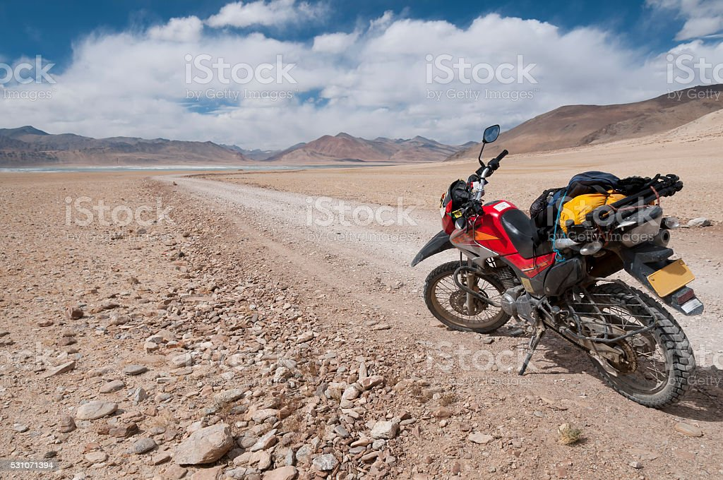 Motorcycle adventure at Tso kar, Ladakh, India stock photo