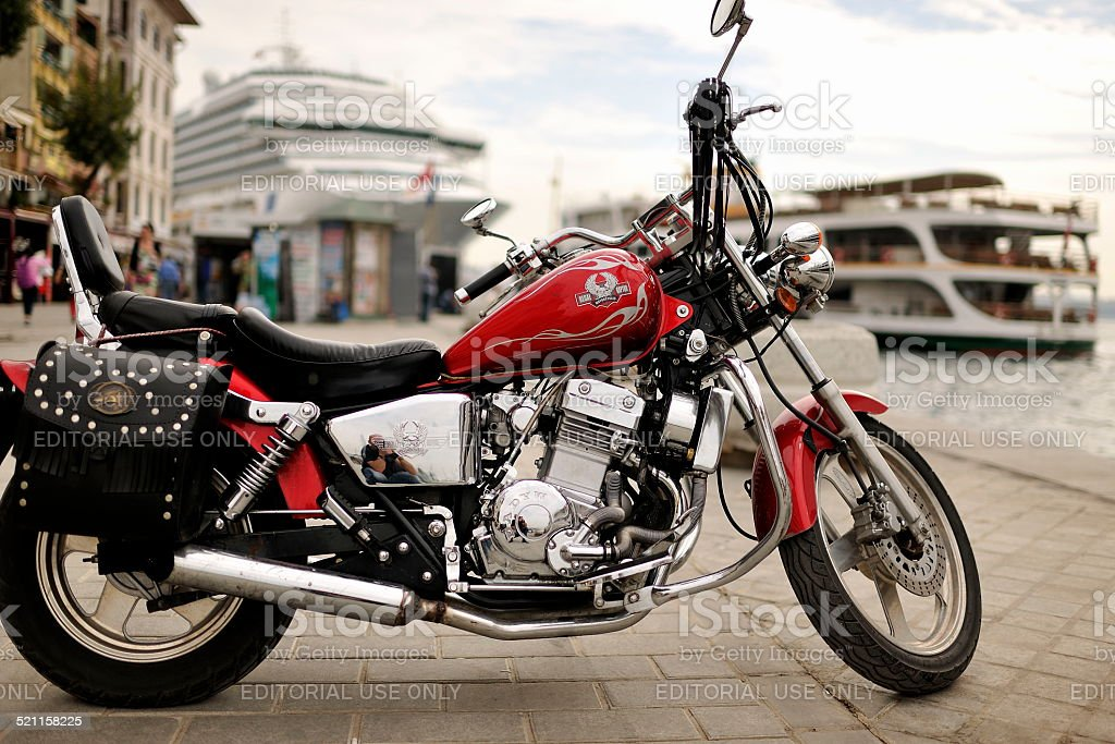 motorcycle and ship stock photo