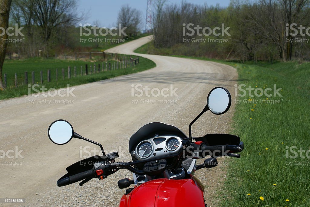 Motorcycle and Windy Road stock photo
