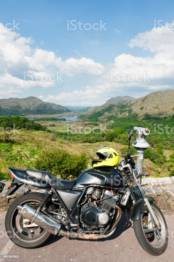 Motorcycle at Ladies View on the Ring of Kerry, Ireland stock photo