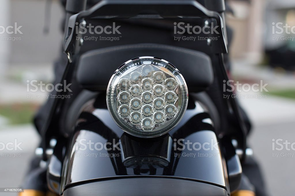 Motorcycle back round taillight stock photo