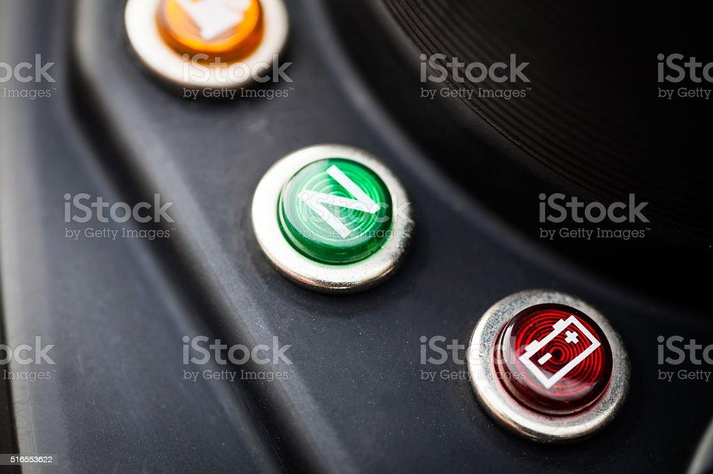 Motorcycle battery indicator stock photo
