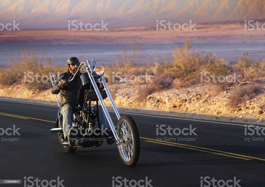 Motorcycle Biker on the Open Road royalty-free stock photo
