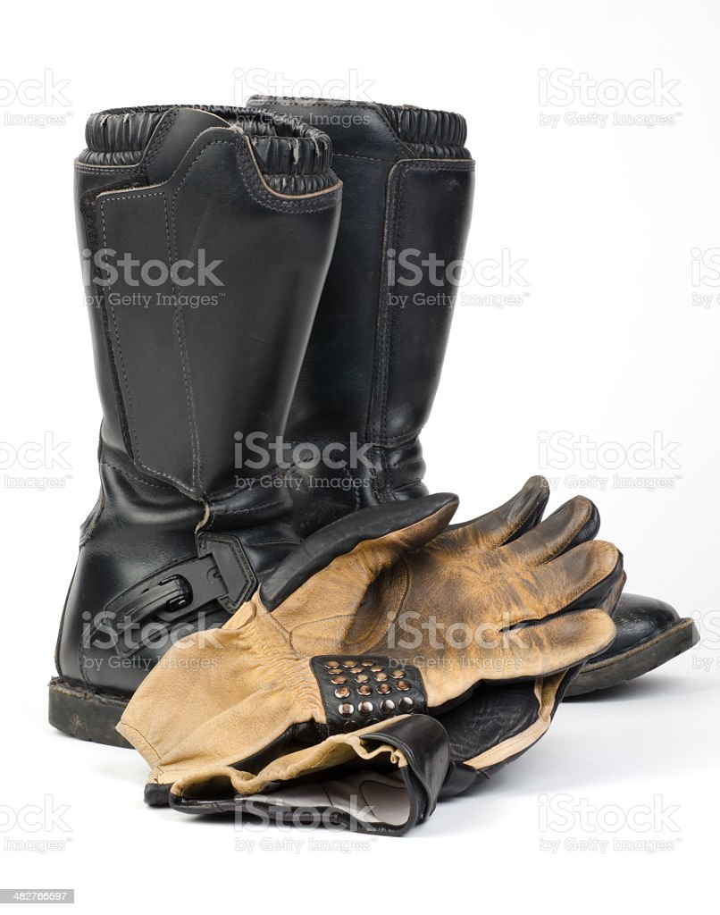Motorcycle Boots and Gloves. stock photo