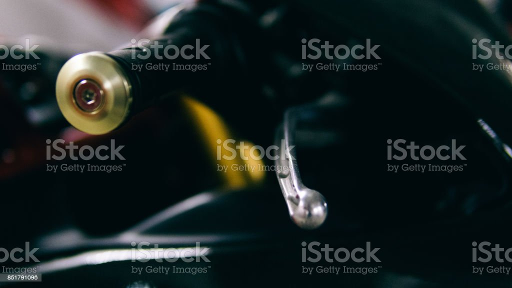 motorcycle brake lever close-up. braking system of a sports motorcycle stock photo
